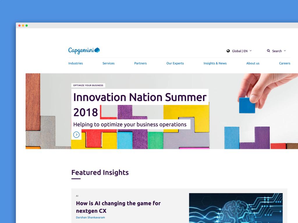 Capgemini homepage after redesign